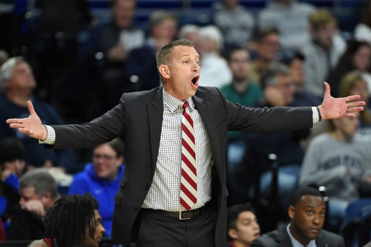 Dec 14, 2019; University Park, PA, USA; Alabama Crimson Tide head coach Nate Oats reacts to a call against the Penn State Nittany Lions during the first half at the Bryce Jordan Center. Mandatory Credit: Rich Barnes-USA TODAY Sports