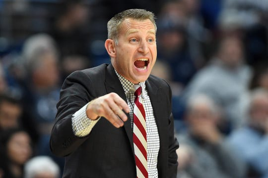 Dec 14, 2019; University Park, PA, USA; Alabama Crimson Tide head coach Nate Oats reacts to a play against the Penn State Nittany Lions during the second half at the Bryce Jordan Center. Mandatory Credit: Rich Barnes-USA TODAY Sports