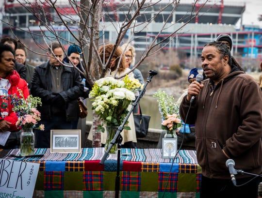 Howard Allen Jr. speaks during the 2019 Annual Homeless Memorial held at Riverfront Park Saturday, December 21, 2019.