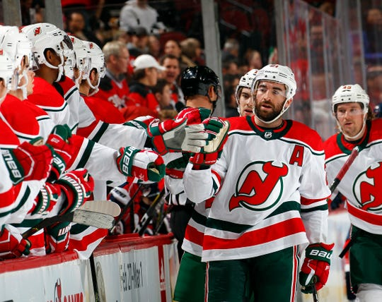 Kyle Palmieri #21 of the New Jersey Devils celebrates scoring his goal in the first period during an NHL hockey game against the Washington Capitals on Dec. 20, 2019 at Prudential Center in Newark, New Jersey.