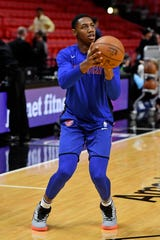 Dec 20, 2019; Miami, Florida, USA;  New York Knicks forward RJ Barrett (9) warms up prior to the game against the Miami Heat at American Airlines Arena.