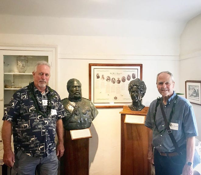 Pictured from left to right, Jeff Donohue (Maui Historical Society volunteer who acquired the two bronze busts and connected with Bruce. Mahalo Nui Jeff) and W. Bruce Stanford, Artist.