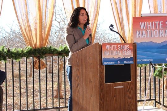 Congresswoman Xochitl Torres Small (D-N.M.) took part in an event recognizing the designation of White Sands National Monument into a national park at Heart of the Desert Pistachios & Wine in Alamogordo Saturday, Dec. 21.