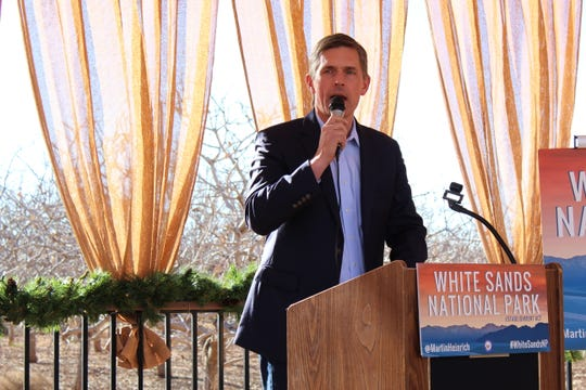 Sen. Martin Heinrich (D-N.M.) took part in an event recognizing the designation of White Sands National Monument into a national park at Heart of the Desert Pistachios & Wine in Alamogordo Saturday, Dec. 21.
