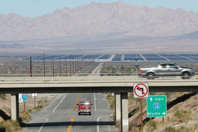 The Desert Sunlight Energy Center can be seen from several miles away at Interstate 10 in Desert Center, December 19, 2019.