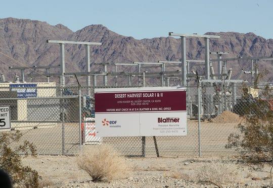 The Desert Harvest Solar project is under construction near Desert Center,  December 19, 2019.