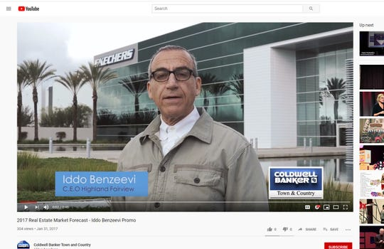 Developer Iddo Benzeevi speaking in a promo for Coldwell Banker's 2017 Real Estate Market Forecast on YouTube.