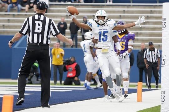 Dec 21, 2019; McKinney, TX, USA;  West Florida Argonauts wide receiver Kevin Grant (15) celebrates scoring a touchdown pass against the Minnesota State Mankato Mavericks at McKinney ISD Stadium. Mandatory Credit: Tim Heitman-USA TODAY Sports