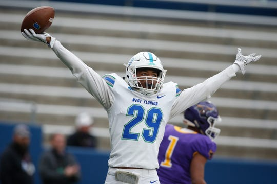 Dec 21, 2019; McKinney, TX, USA;  West Florida Argonauts wide receiver Quentin Randolph (29) celebrates a touchdown pass against the Minnesota State Mankato Mavericks at McKinney ISD Stadium. Mandatory Credit: Tim Heitman-USA TODAY Sports