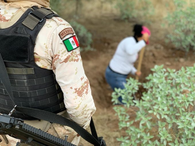 A soldier looks over a volunteer with the Searching Mothers of Sonora as they continue looking for bodies buried west of Hermosillo, Mexico on Dec. 4, 2019.