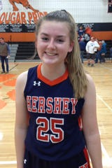 Hershey's Mary Cotter made three 3s and sealed the Trojans' 32-28 win at Palmyra with free throws.