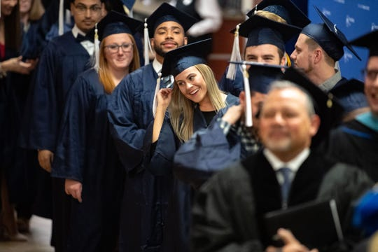 Students prepare to graduate during the Penn State York Fall Commencement at The Pullo Family Performing Arts Center, December 20, 2019.