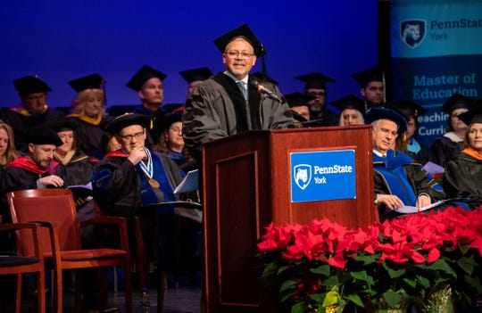 "Commencement speaker Abraham ""Abe"" Amoros addresses the class of 2019 during the Penn State York Fall Commencement at The Pullo Family Performing Arts Center, December 20, 2019."