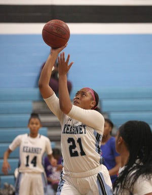 Bishop Kearney's Saniaa Wilson goes in for a layup against Nottingham earlier this season. Wilson, a 6-foot-1 junior, has led the Kings in scoring every year since she was a seventh-grader.