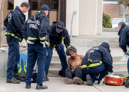The victim of a suspected stabbing is being helped by the Salinas Fire Department on Saturday, Dec. 21, 2019.