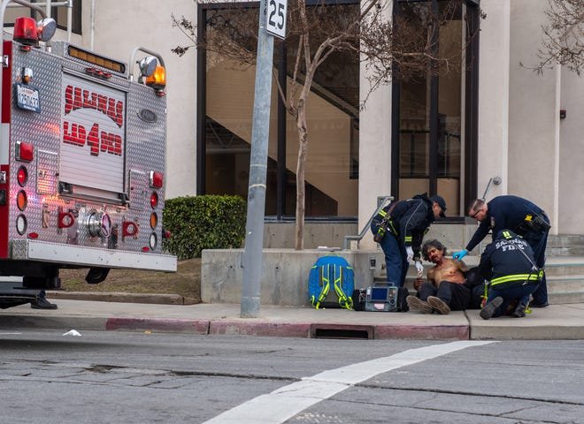 The Salinas Fire Department provides aid to the victim of a suspected stabbing on Saturday morning.