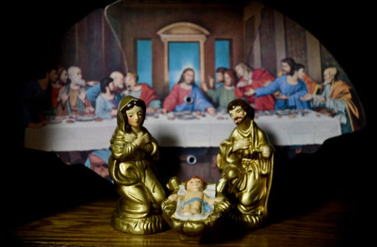 Hope Ware Thoele decorated her house for Christmas with nativity sets.