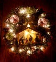 A wreath that Hope Ware Thoele made using a vintage nativity set.