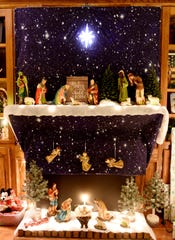 A vintage nativity set Hope Ware Thoele's used to decorate over her fireplace.