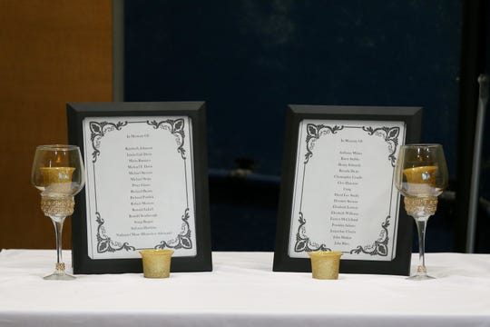 More than 30 people who died in the past year who were homeless were remembered during a memorial service held for them at the Kearney Center Saturday, Dec. 21, 2019.