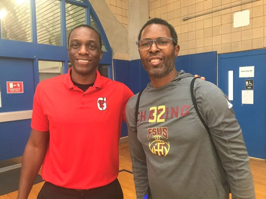 Chuck Graham (left) and Charlie Ward were stars on the hardwood at Florida State in the 1990s. They met as opposing head coaches in the Capital City Holiday Classic at TCC on Friday, Dec. 20, 2019. Ward is at Florida High and Graham coaches Gainesville High School in Georgia.