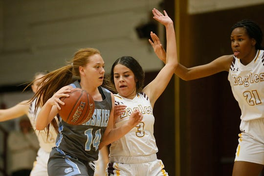 Chapin's Annelise Dominguez goes against Andress' Aalyiah Santillano during the game Friday, Dec. 20, 2019, at Andress High School in El Paso.