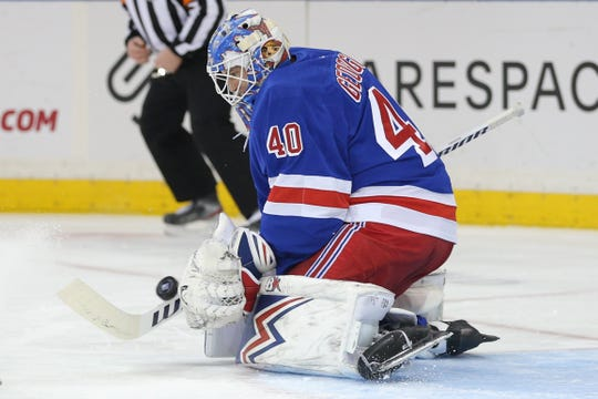 Dec 20, 2019; New York, NY, USA; New York Rangers goalie Alexandar Georgiev (40) makes a save against the Toronto Maple Leafs during the first period at Madison Square Garden. Mandatory Credit: Brad Penner-USA TODAY Sports