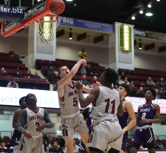 Iona Prep defeats New Rochelle 65-38 in the opening round of the Slam Dunk Basketball Tournament at the Westchester County Center in White Plains on Saturday, December 21, 2019.