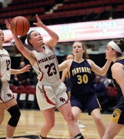 Byram Hills' Olivia Picca tries to get a shot off in front of Walter Panas' Kelsey Cregan  during the Slam Dunk Tournament at the Westchester County Center in White Plains, Dec. 21, 2019. Byram Hills beat Walter Panas, 49-44.