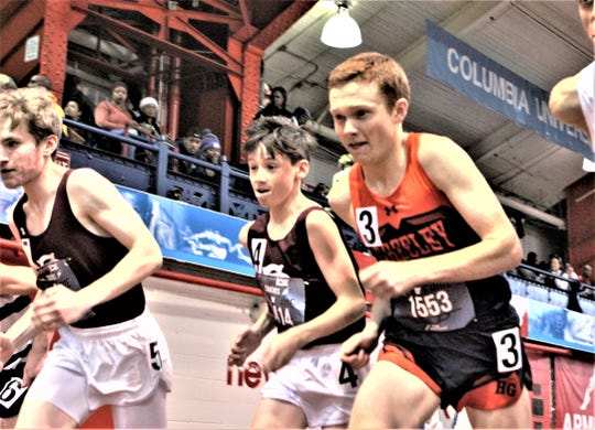 Horace Greeley's Joe O'Brien (1553) takes off during the boys invitational mile at the Energice Coaches Hall of Fame Invitational. He finished second.