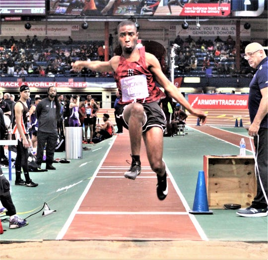 Nyack's Nyle Austin takes off during the boys small-school long jump competition at the Energice Coaches Hall of Fame Invitaional Dec. 21, 2019. He finsihed ninth at 18 feet.