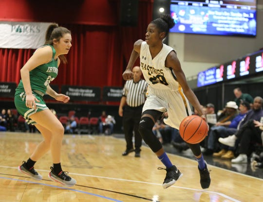 Hastings' Melannie Daley (20) works the ball during the Slam Dunk Basketball Tournament at the Westchester County Center in White Plains on Saturday, December 21, 2019.