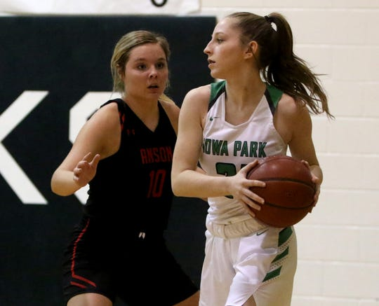 Iowa Park's Emma Barnes looks to pass while guarded by Anson's Trista McIntire Friday, Dec. 20, 2019, in Iowa Park.