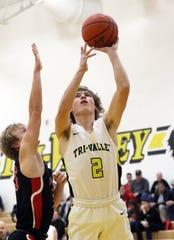 Tri-Valley's Skye Bryan puts up a shot against Crooksville.