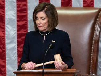 House Speaker Nancy Pelosi presides over Articles of Impeachment in Washington, DC, on Dec. 18, 2019.