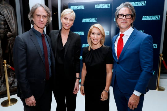 "WASHINGTON, DC - NOVEMBER 13: Director Jay Roach, Actress Charlize Theron, Journalist Dana Bash and Writer Charles Randolph attend the ""Bombshell"" Special Screening at the MPAA on November 13, 2019 in Washington, DC. (Photo by Paul Morigi/Getty Images for Lionsgate Entertainment) ORG XMIT: 775429996 ORIG FILE ID: 1187501952"