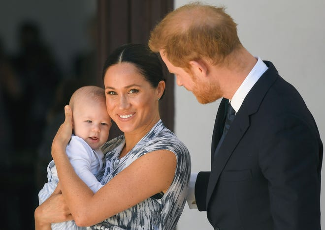 Prince Harry, Duchess Meghan and baby Archie in South Africa in October 2019.