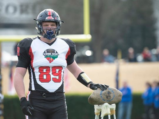 South Carolina's Will Blackston (89), from Belton-Honea Path High School, is introduced before the Shrine Bowl of the Carolinas at Wofford's Gibbs Stadium Saturday, Dec. 21, 2019.