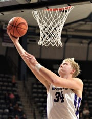 ACU's Kolton Kohl drives for a shot in the first half against Nicholls. Kohl scored a game-high 22 points in the Wildcats' 79-61 victory over the Colonels in the Southland Conference game Saturday, Dec. 21, 2019, at Moody Coliseum.