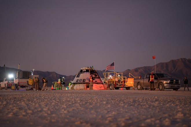Boeing's Starliner capsule lands at the Army's White Sands Missile Range in New Mexico on Sunday, Dec. 22, 2019, after its mission to the International Space Station had to be cut short due to issues with raising its orbit.