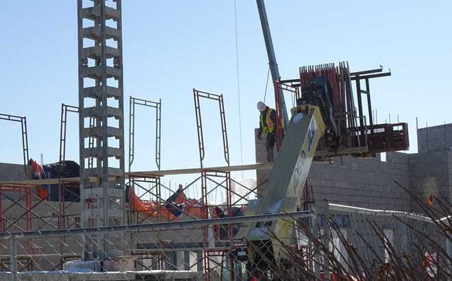Construction continues on Wynford's new 93,000-square-foot junior high/high school building earlier this month.