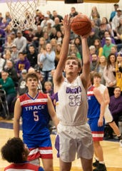 Unioto big man Reece Wheeler goes up for a layup during a 38-36 win over Zane Trace at Unioto High School in Chillicothe, Ohio, on Dec. 21, 2019.