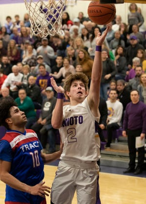 Unioto's Cam DeBord goes up for a layup during a 38-36 win over Zane Trace at Unioto High School in Chillicothe, Ohio, on Dec. 21, 2019.