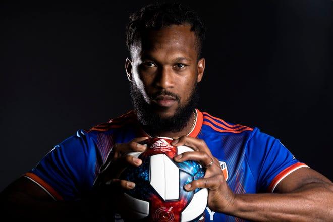 FC Cincinnati defender Kendall Waston poses for a photograph at FC Cincinnati's media day on Tuesday, Feb. 26, 2019, in Cincinnati.