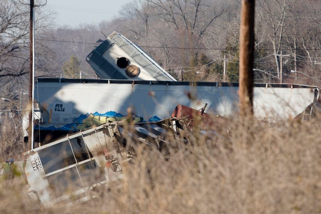 CFD and CSX workers respond to the scene were two trains collided and caused a derailment off River Road in Covedale.