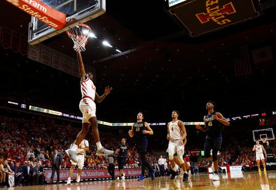 Iowa State guard Terrence Lewis dunks on a breakaway during the first half of an NCAA college basketball game against Purdue Fort Wayne, Sunday, Dec. 22, 2019, in Ames, Iowa. (AP Photo/Matthew Putney)