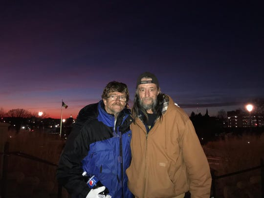 Charlie Dodson and James Grimes at Joppa's 11th Annual Homeless Memorial on Dec. 21, 2019.