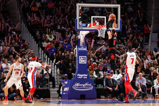 Chicago Bulls guard Zach LaVine (8) dunks the ball during the third quarter against the Detroit Pistons at Little Caesars Arena on Saturday, Dec. 21, 2019.