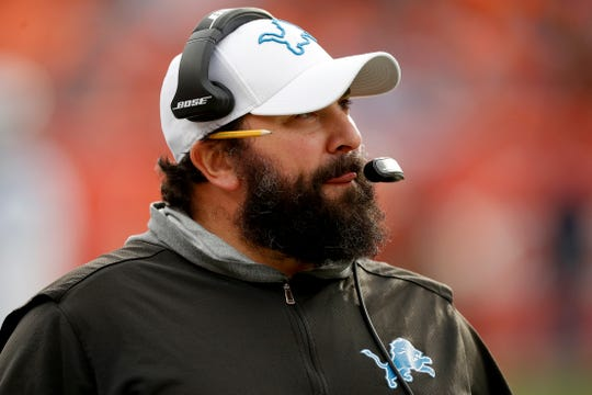 Lions coach Matt Patricia watches during the first half on Sunday, Dec. 22, 2019, in Denver.