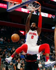 Detroit Pistons center Andre Drummond dunks during the first half of an NBA basketball game against the Chicago Bulls, Saturday, Dec. 21, 2019, in Detroit.